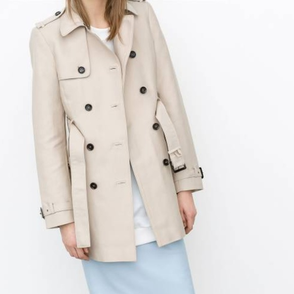 c8fb2a23 Zara double-breasted belted khaki trench coat. M_5be89f3a1b3294f1b32fb0d6